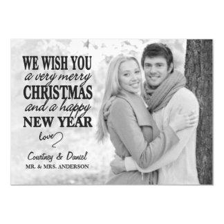 Modern Christmas Hand Lettered Full-Photo Overlay Card