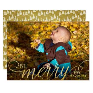 Modern Christmas Hand Written Golden Photocard Card