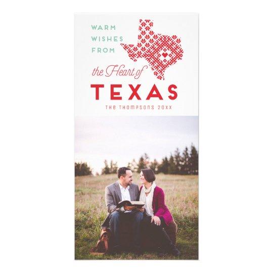 Modern Christmas Heart of Texas Photo Greeting Card