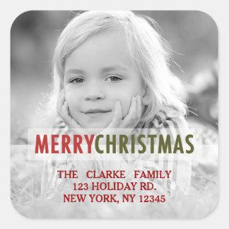 MODERN CHRISTMAS | HOLIDAY PHOTO RETURN ADDRESS SQUARE STICKER
