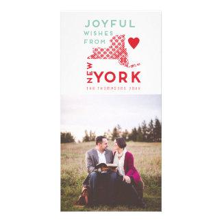 Modern Christmas Joyful wishes from New York Photo Card