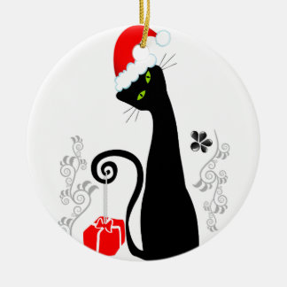 Modern Christmas Kitty Round Ceramic Decoration