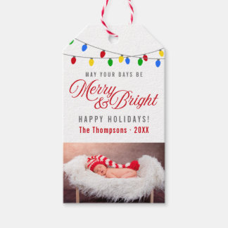 Modern Christmas Lights | Merry & Bright Photo Gift Tags