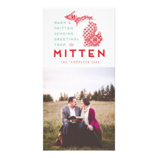 Modern Christmas Michigan Mitten Photo Greeting Card