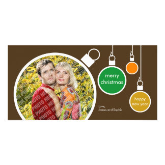 Modern Christmas Photo Card- Chocolate Brown Photo Card Template