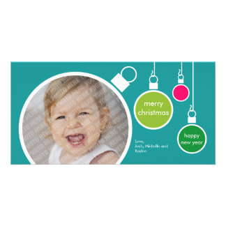 Modern Christmas Photo Card- Turquoise Picture Card