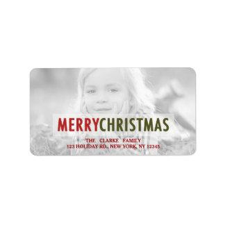 MODERN CHRISTMAS | RED HOLIDAY PHOTO ADDRESS LABEL
