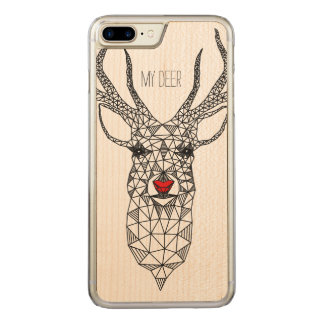 Modern Christmas Red Nose Deer Carved iPhone 8 Plus/7 Plus Case