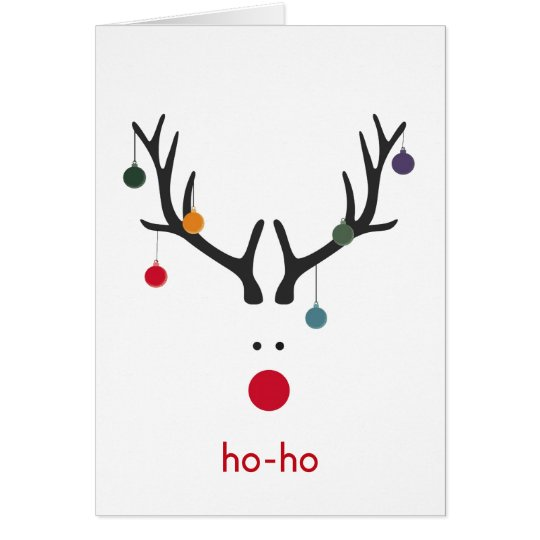Modern Christmas reindeer on white holiday wishes Card