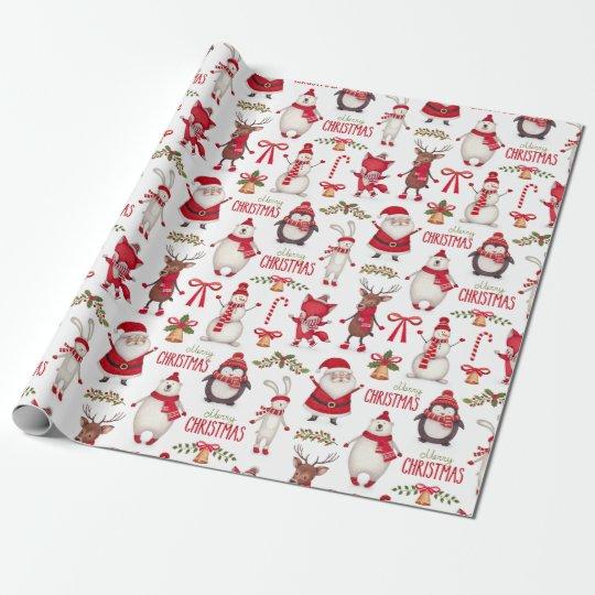 Modern Christmas Santas, Penguins & Polar Bears Wrapping