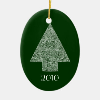 Modern Christmas Tree Ceramic Oval Decoration