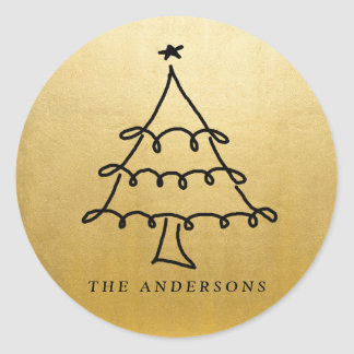 Modern Christmas Tree Drawing Faux Gold Foil Round Sticker