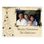 Modern Christmas Tree Family  Photo Postcard