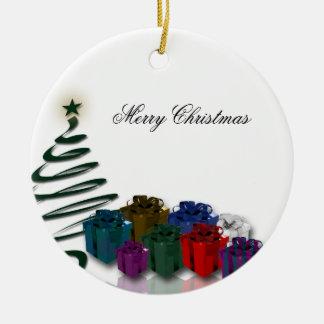 Modern Christmas Tree Graphics w/ Bright Presents Ornaments