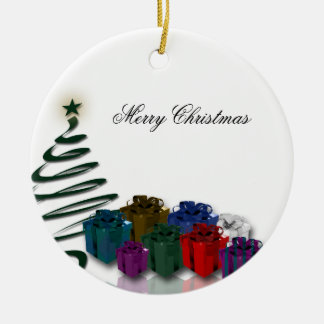 Modern Christmas Tree Graphics w/ Bright Presents Round Ceramic Decoration
