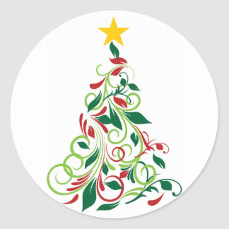 Modern Christmas tree Illustration Classic Round Sticker