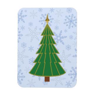 Modern Christmas Tree on Snowflake Blizzard Rectangular Photo Magnet