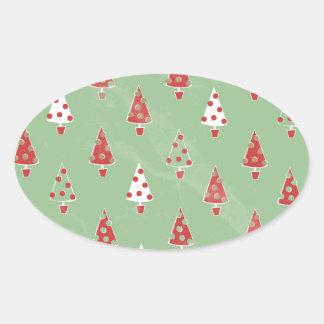 Modern Christmas Tree Pattern Oval Sticker