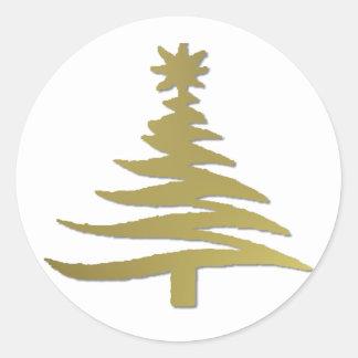 Modern Christmas Tree Stencil Print Gold Round Stickers