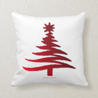 Modern Christmas Tree Stencil Print Red Cushion