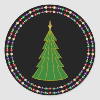 Modern Christmas Tree with Double Rings on Black Round Sticker