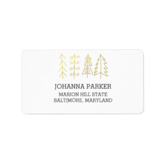 Modern Christmas Trees Gold Holiday Address Label