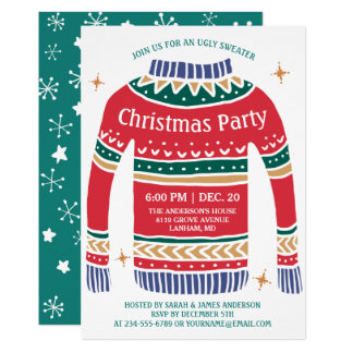 Modern Christmas Ugly Sweater Holiday Party Card