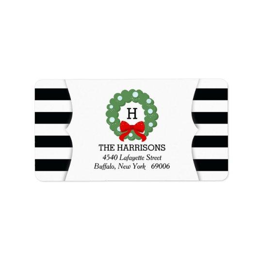 Modern Christmas Wreath Black White Stripes Label