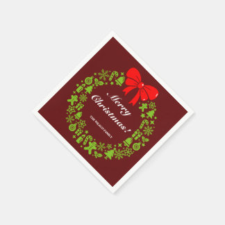 Modern Christmas Wreath composed of Xmas motifs, Disposable Napkins
