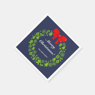 Modern Christmas Wreath composed of Xmas motifs, Paper Napkins