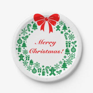 Modern Christmas Wreath composed of Xmas motifs, Paper Plate