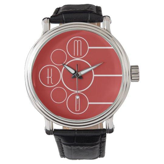 Modern Chronometer Monogrammed Red Watch