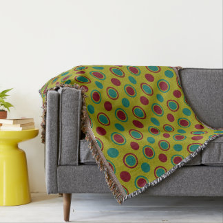 Modern Circles and Dots on Granny Flower Green Throw Blanket