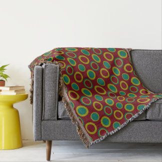 Modern Circles and Dots on Granny Flower Red Throw Blanket