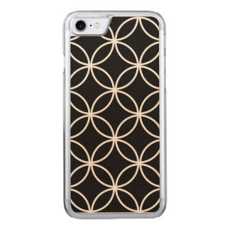 Modern Circles Pattern Black and White Carved iPhone 8/7 Case