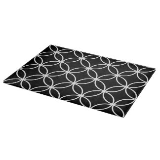 Modern Circles Pattern Black and White Cutting Board