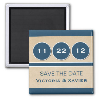 Modern Circles Save the Date Magnet, Blue Square Magnet