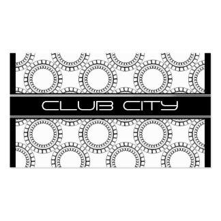 Modern Circular Caps Business Card Black White