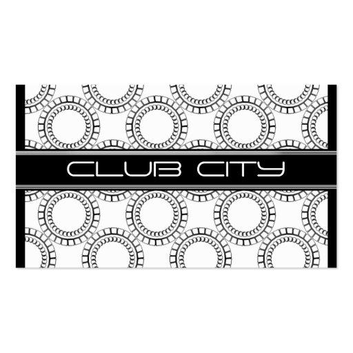 Modern Circular Caps Business Card, Black & White