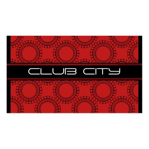 Modern Circular Caps Business Card, Red