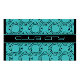 Modern Circular Caps Business Card Turquoise