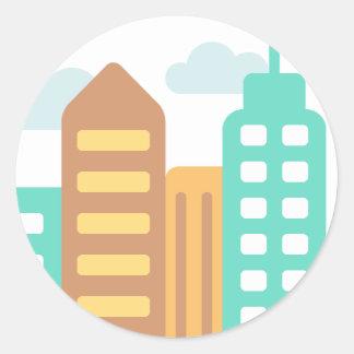 Modern City Emoji Classic Round Sticker