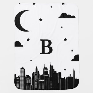 Modern City Scape & Night Sky Baby's Initial Receiving Blankets