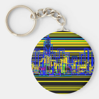 Modern cityscape in black and yellow neon basic round button key ring