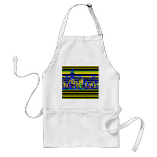 Modern cityscape in black and yellow neon standard apron