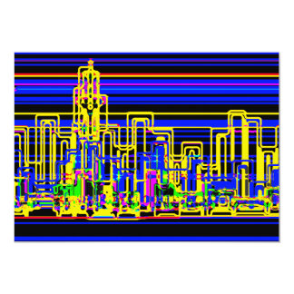 Modern cityscape in blue and black neon 13 cm x 18 cm invitation card