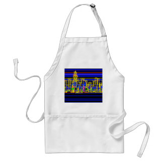 Modern cityscape in blue and black neon adult apron