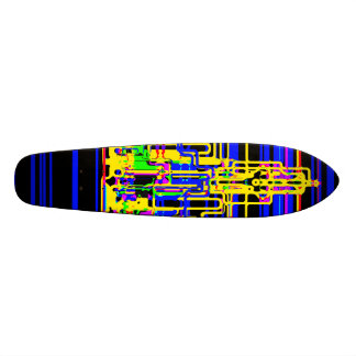 Modern cityscape in blue and black neon custom skateboard