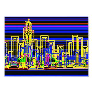 Modern cityscape in blue and black neon 5x7 paper invitation card