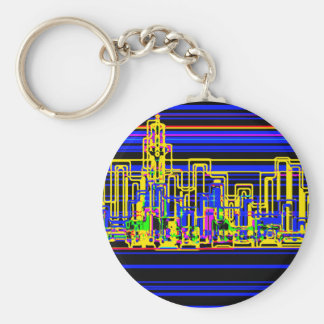 Modern cityscape in blue and black neon basic round button key ring